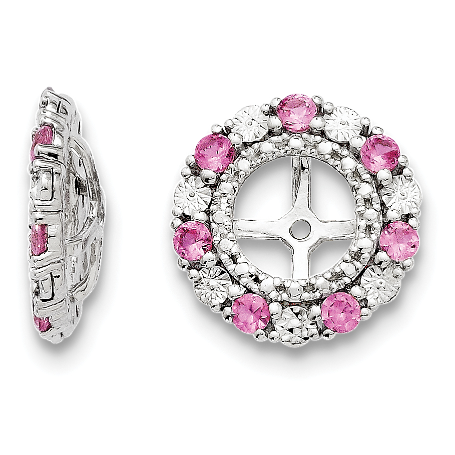 Roy Rose Jewelry Sterling Silver Created Pink Sapphire Earring Jacket