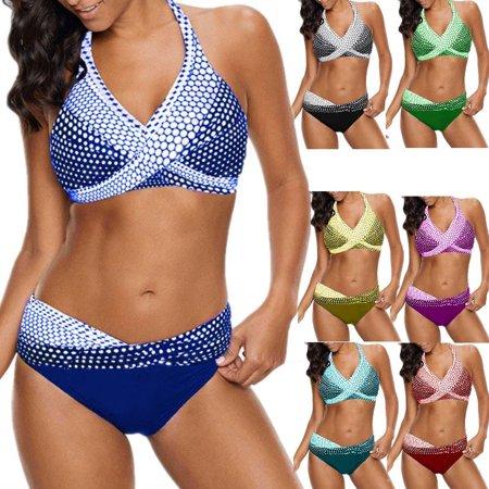 Women Fashion Beach Swimwear Wave Point Bikini Swimsuit Bathing Suit Halter Plus - Blue Palm Swimsuit