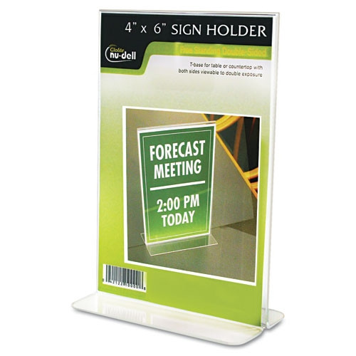 Glolite Nudell LLC Clear Plastic Sign Holder, Free-Standing (Set of 2)