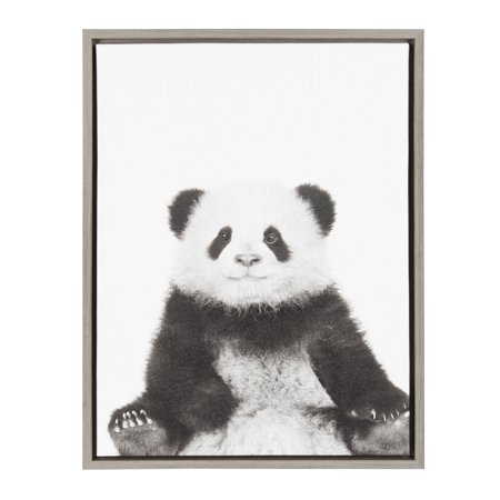 Panda Canvas Reproduction - Kate and Laurel Sylvie Panda Black and White Portrait 18x24 Gray Framed Canvas Wall Art by Simon Te Tai