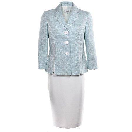Trim Tweed Suit (Le Suit NEW Blue Teal White Tweed Women's 10P Petite Skirt Suit Set $200 #135)