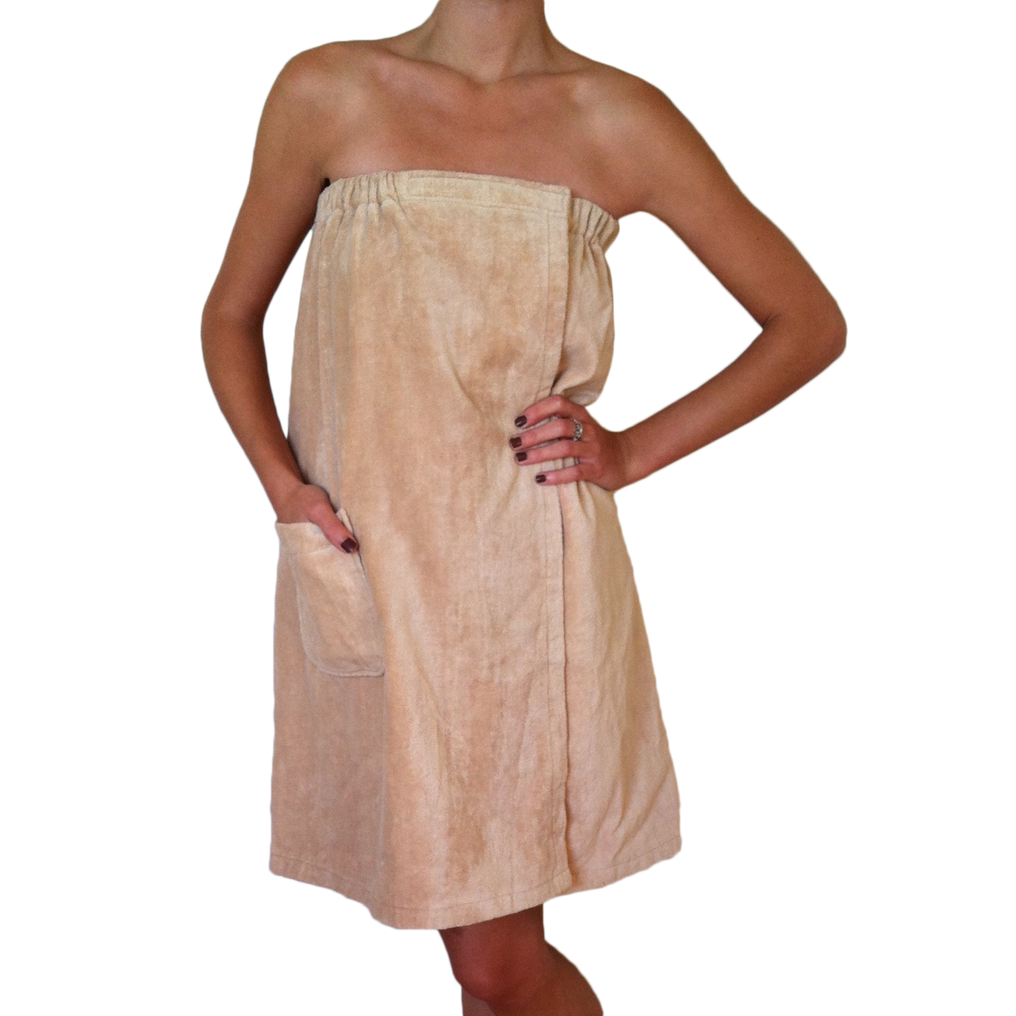 Radiant Saunas Women's Spa & Bath Terry Cloth Towel Wrap - Tan