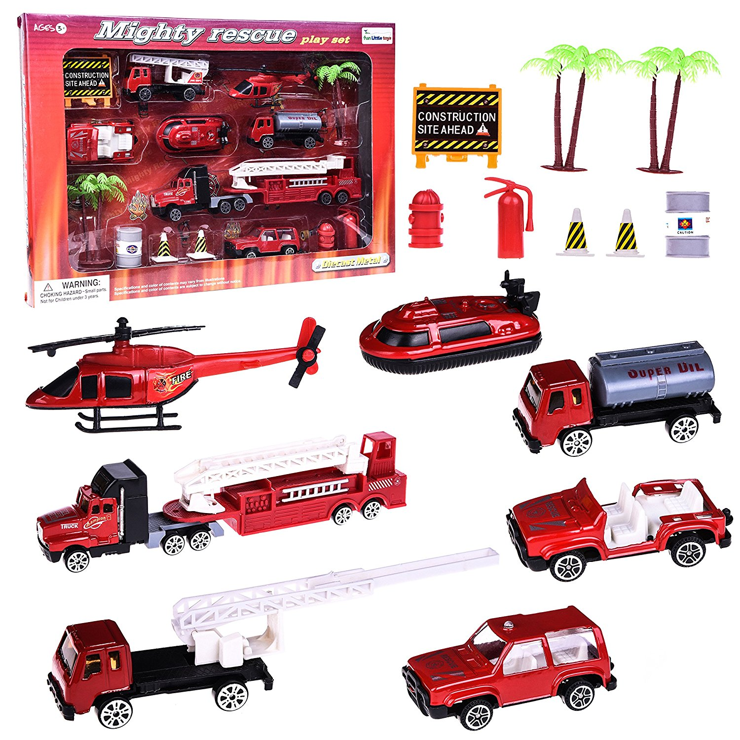 Cars Diecast Trucks Play Set Vehicles for Boys Mighty Fire Rescue Fire Toy Set for Kids Gift with Tow Truck, Truck, Jeep, Boat, Semi Truck, Helicopter and Accessories 15 PCs F-69