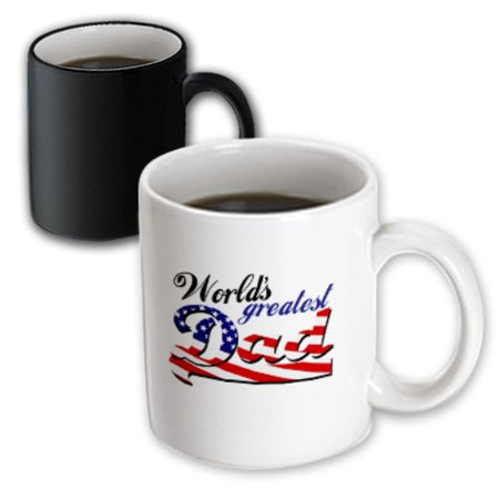 3dRose Worlds greatest dad with USA American flag - good for fathers day or as a general best daddy gift, Magic Transforming Mug,