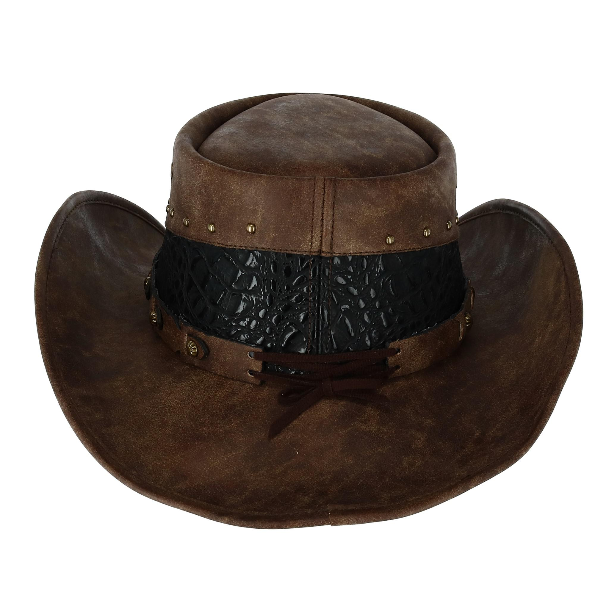 Kenny K Men's Faux Leather Western Hat with Medallion Detailed Crown - image 1 de 5