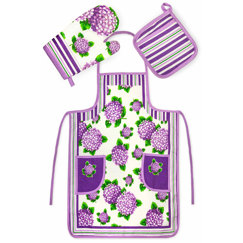Crover Chef's 3 Piece Cotton Purple Floral Kitchen Set