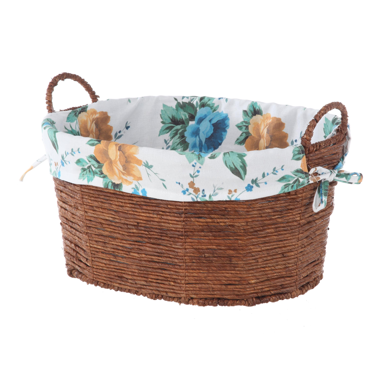 Pioneer Woman Oval White Floral Medium Basket