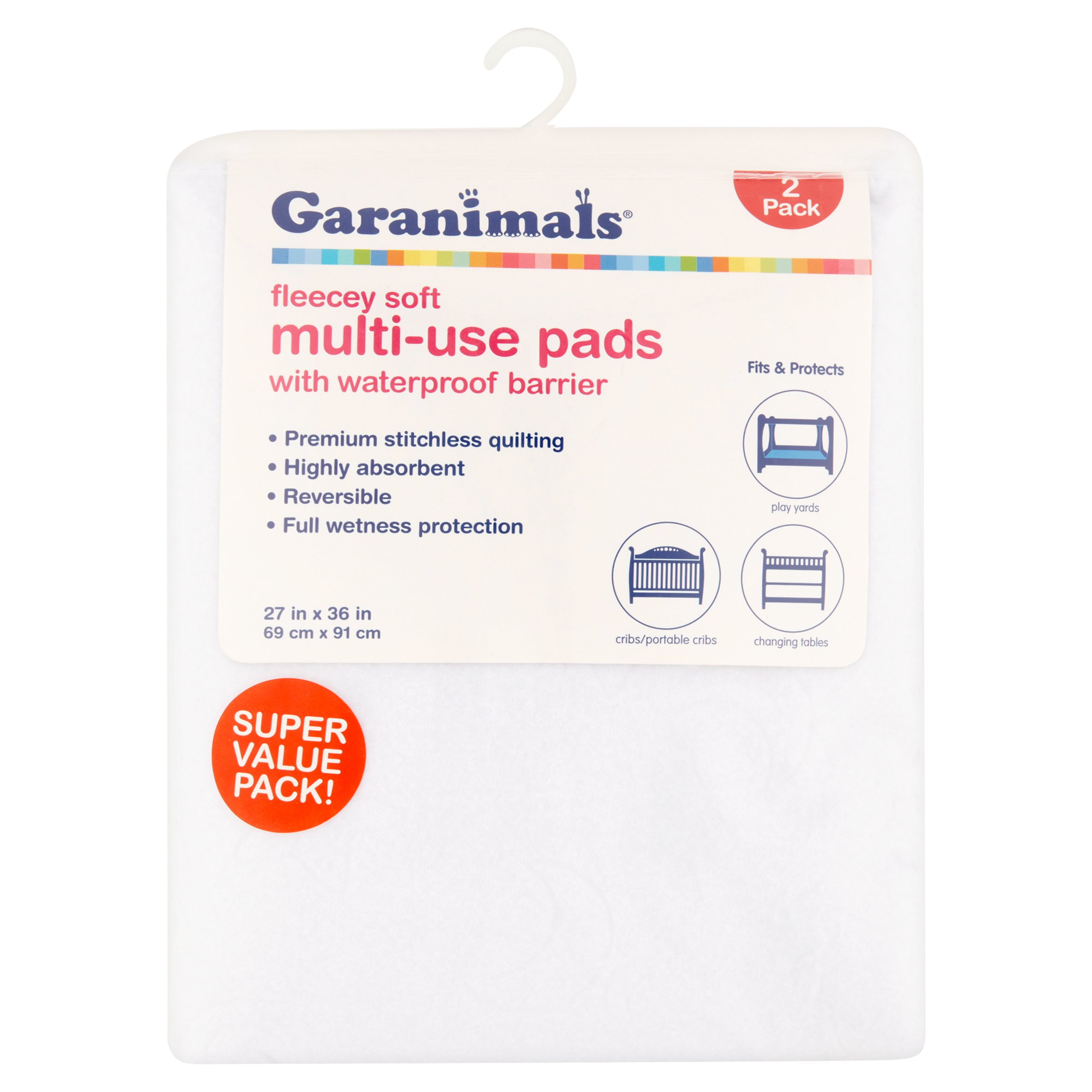 Garanimals Fleecey Soft Multi-Use Pads with Waterproof Barrier Super Value Pack! 2 Pack
