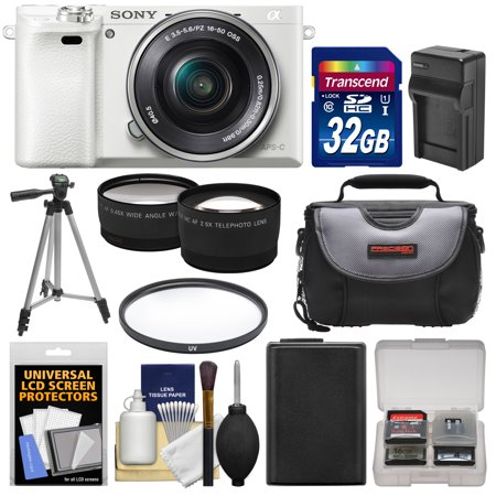 Sony Alpha A6000 Wi-Fi Digital Camera & 16-50mm Lens (White) with 32GB Card + Case + Battery/Charger + Tripod + Filter + Tele/Wide Lens