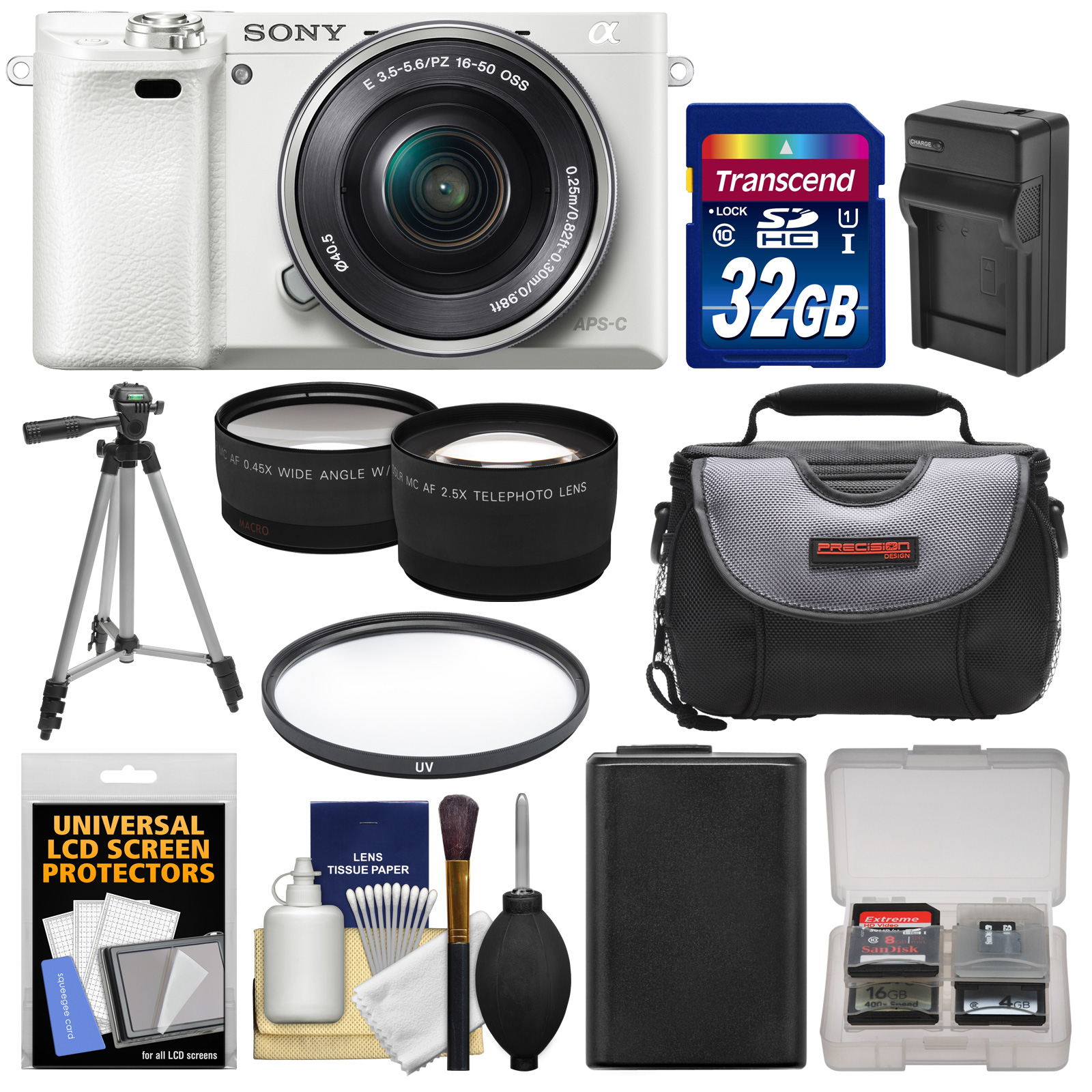 Sony Alpha A6000 Wi-Fi Digital Camera & 16-50mm Lens (White) with 32GB Card   Case   Battery/Charger   Tripod   Filter   Tele/Wide Lens Kit