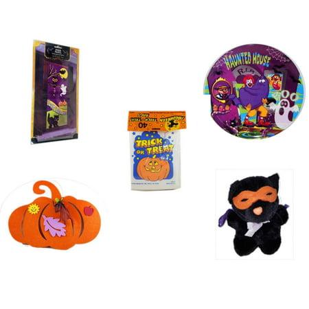 Halloween Fun Gift Bundle [5 Piece] - Happy  Door Panel - McDonald's Haunted House, RIP, Boo  Plate -  Trick or Treat Bags 40/ct -  Felt Pumpkin Decoration - Manley Toys  Costume Cat Plush 5