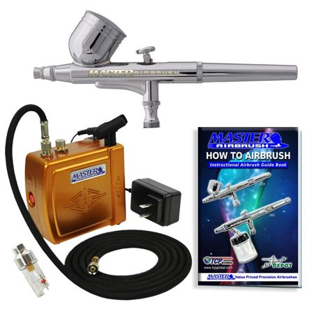 Master Airbrush Multi-Purpose Gold Airbrushing System Kit with Portable Mini Air Compressor - Gravity Feed Dual-Action
