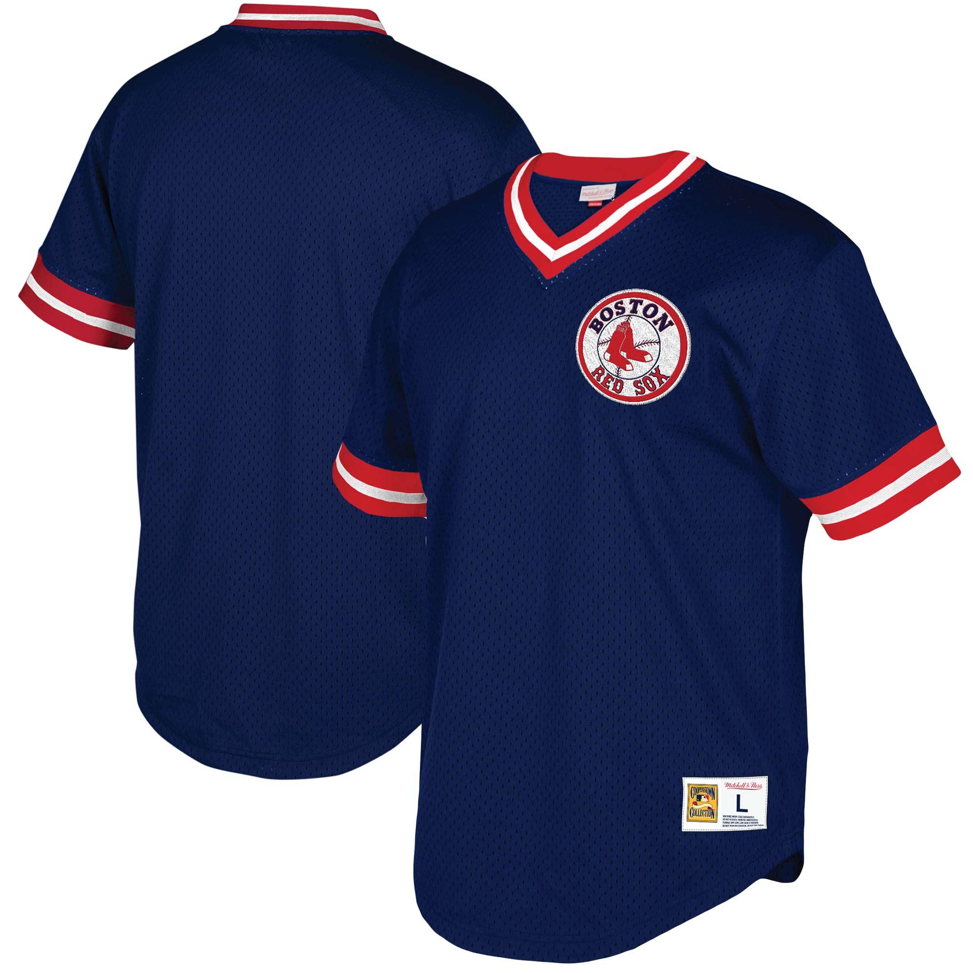 Boston Red Sox Mitchell & Ness Mesh V-Neck Jersey - Navy