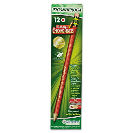 Dixon Ticonderoga Eraseable Red Checking Pencils, 12 Pack