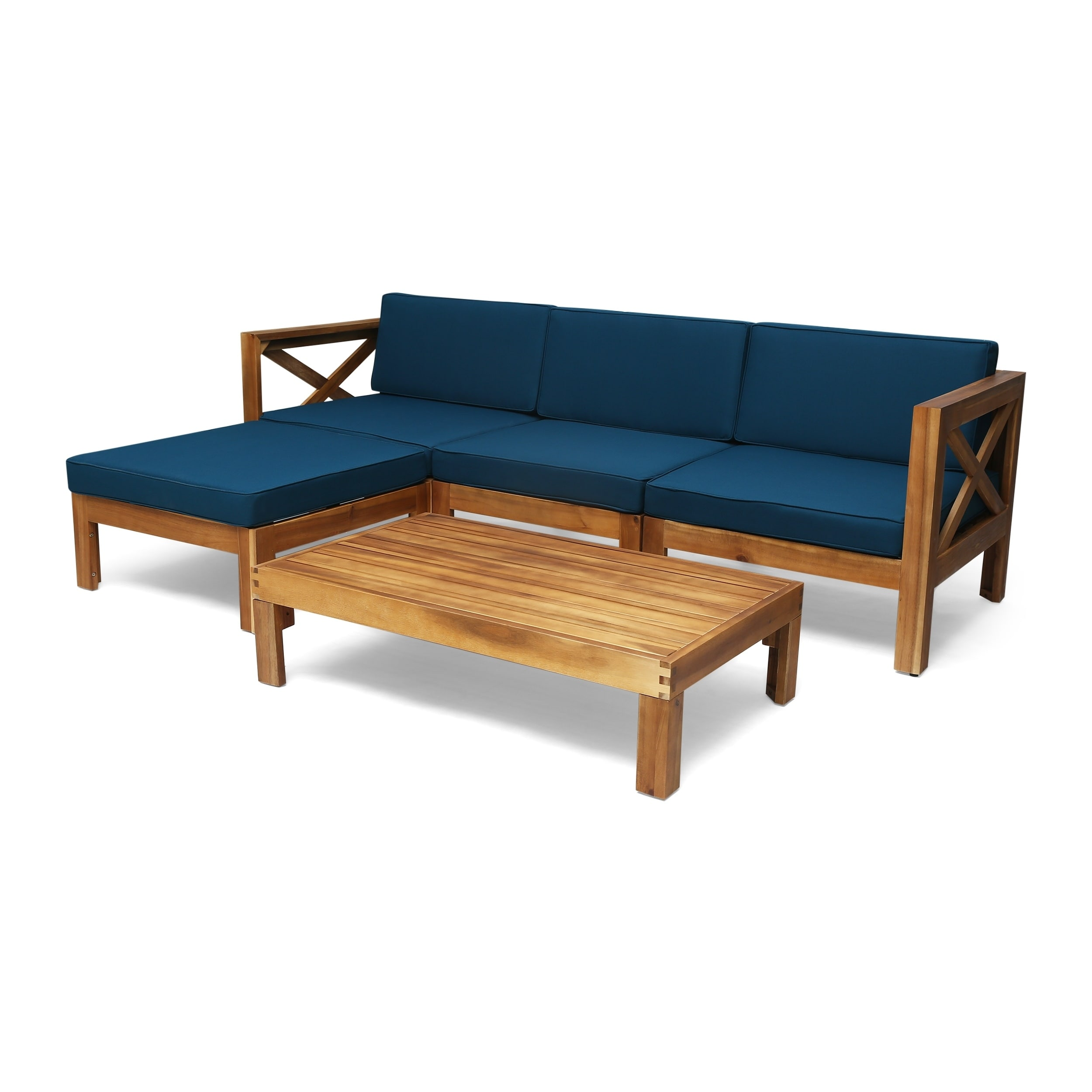 Christopher Knight Home Alcove Outdoor Acacia Wood 5 Piece Sofa Set by