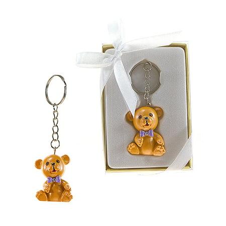 Teddy Bear with Crystal Bow Tie Keychain Gift Favor Keepsake - Case of 48