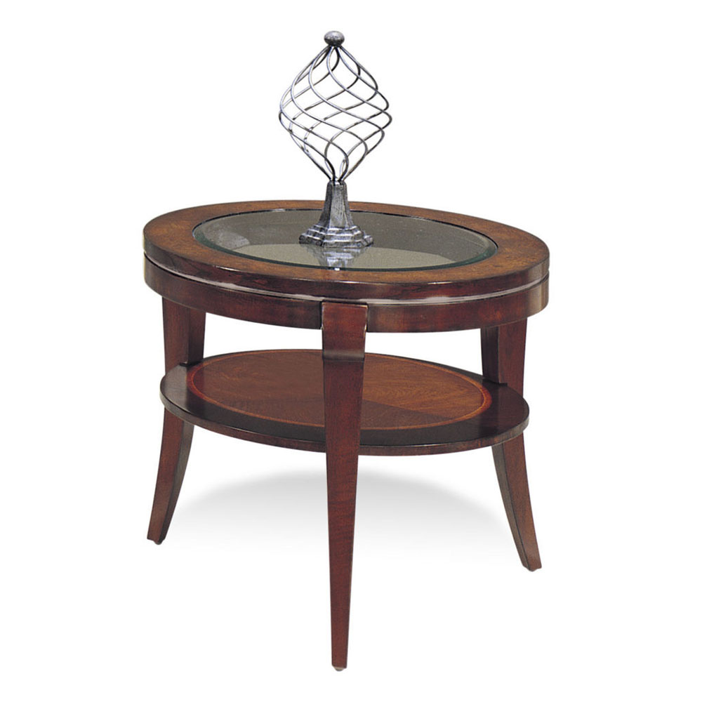 Bassett 8436-220 Ashland Heights Round End Table w  Glass Inset by Bassett Mirror