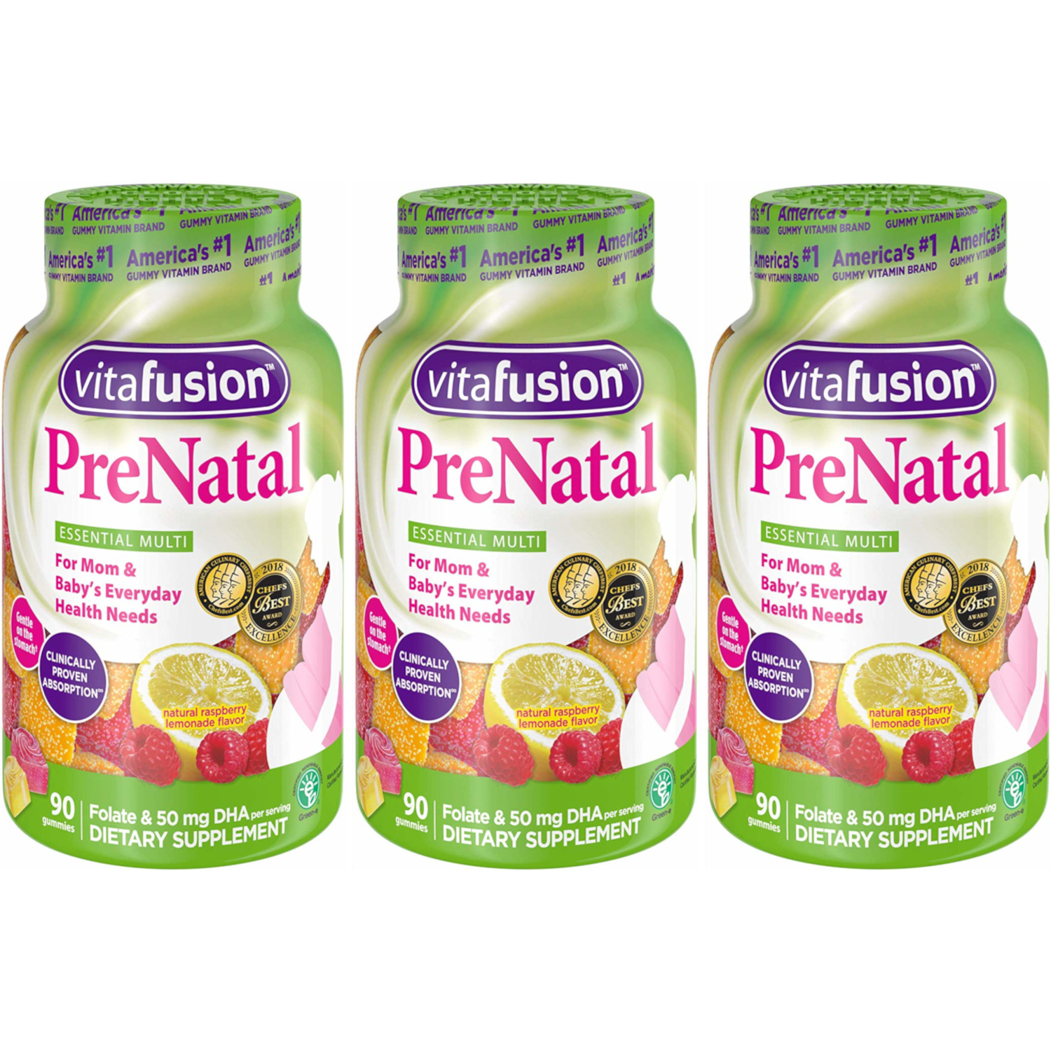3 Pack - Vitafusion PreNatal Multivitamin Adult Gummies - 90 Count Each