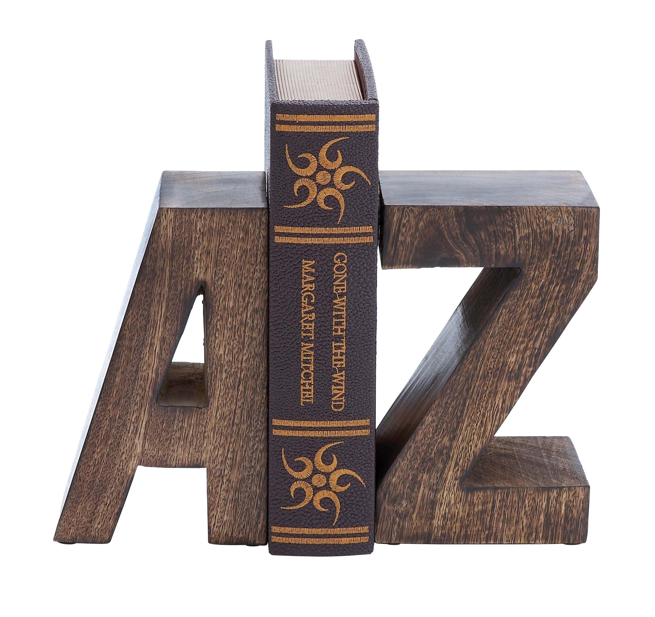 Wood Book End Pair With Wood Grain Design