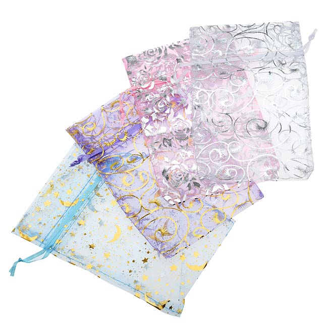Assorted Silver & Gold Design Organza Drawstring Gift Bags 4x6 Inch (12 Bags)