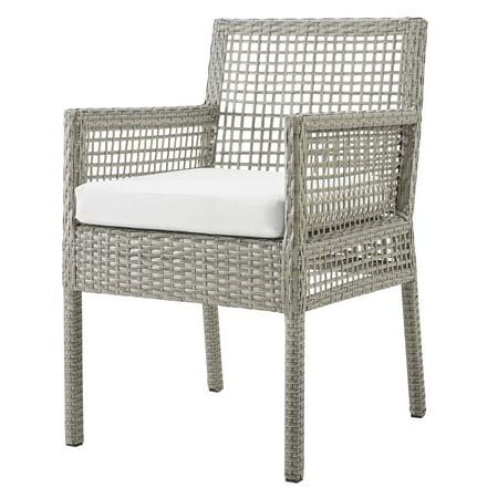 Modern Contemporary Urban Design Outdoor Patio Balcony Garden Furniture Side Dining Chair Armchair, Rattan Wicker, Grey Gray White ()