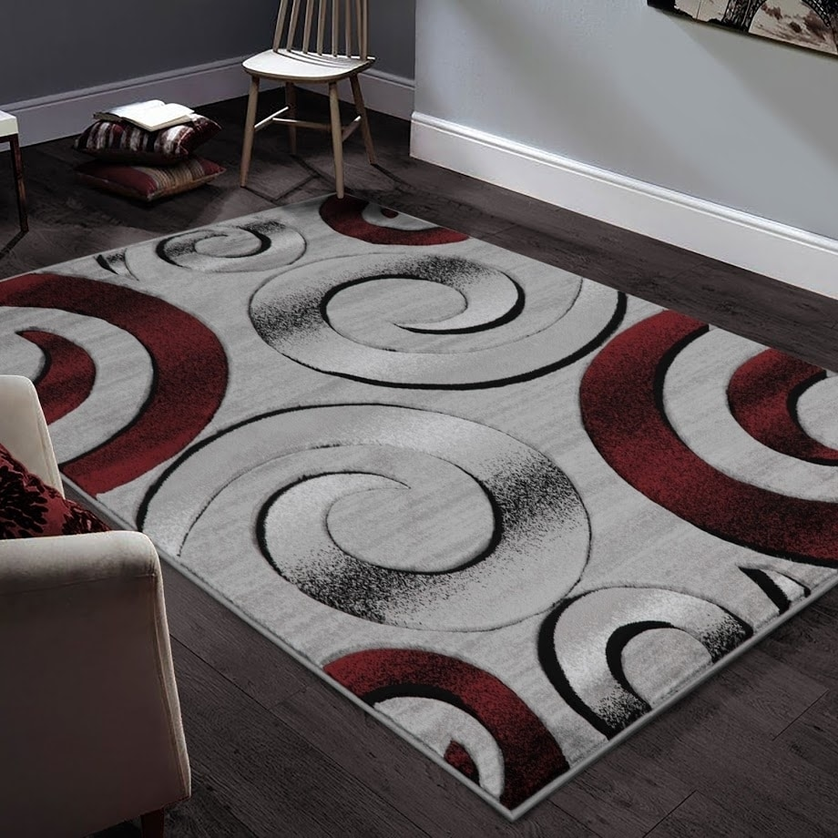 Allstar Rugs Hand-Carved Grey and White Rectangular Accent ...