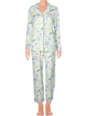 Munki Munki Womens Fancy Cheese Flannel Printed Pajama Set