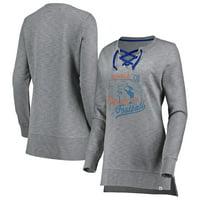Denver Broncos Majestic Women's Historic Hyper Lace-Up Tunic Sweatshirt - Heathered Gray