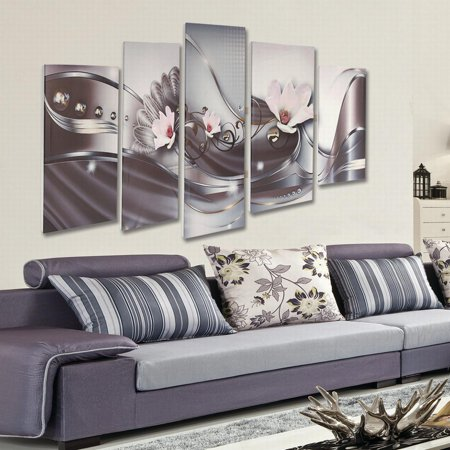 Moaere 5 Panel Canvas Print Modern Picture Wall Art Decor Home Abstract Flower Framed