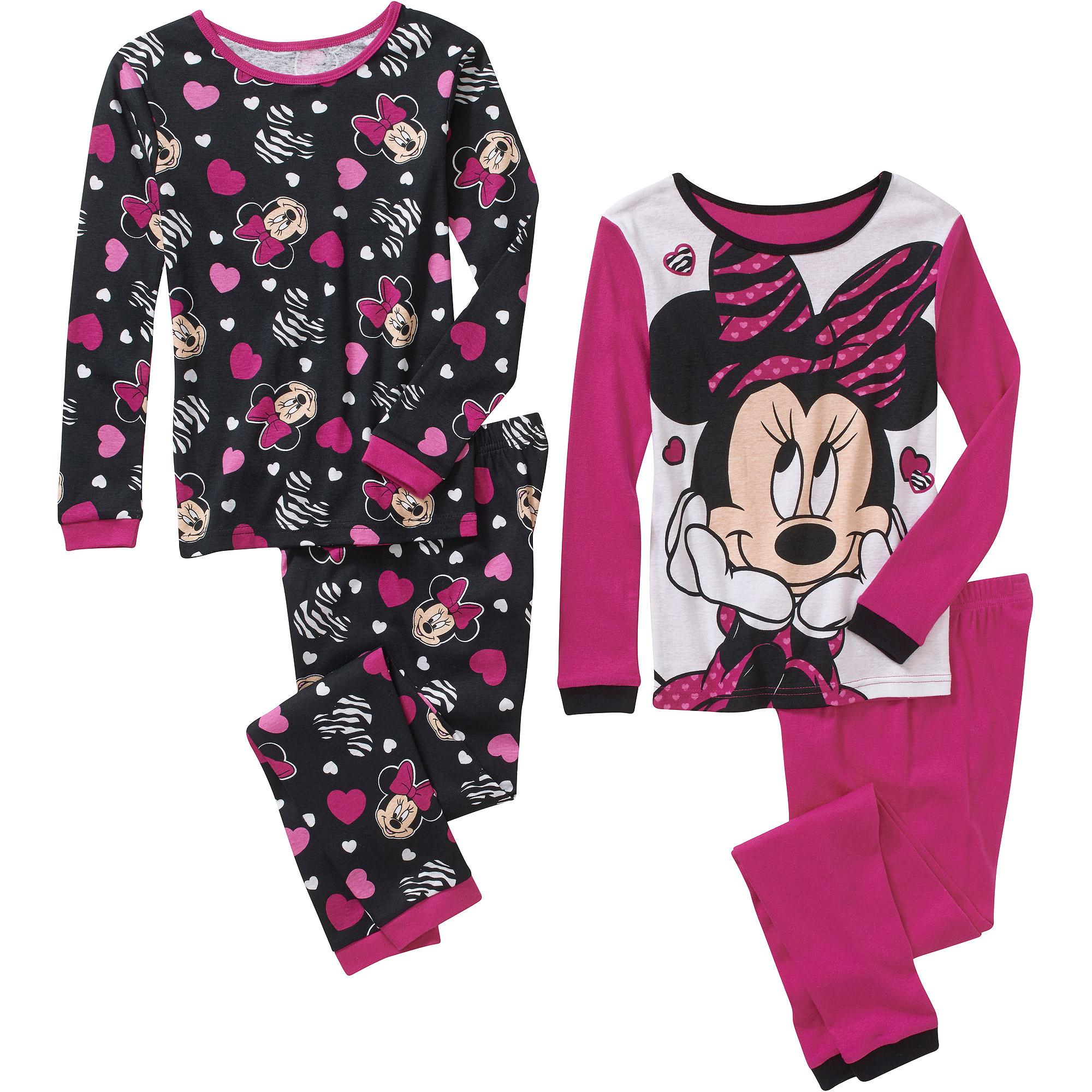 Girls' Minnie Mouse 4 Piece Cotton Pajama Set