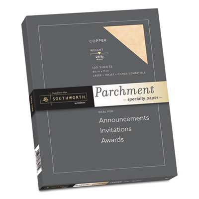 Parchment Specialty Paper, Copper, 24lb, 8 1/2 x 11, 100 Sheets, Sold as 1 Package, 100 Sheet per Package