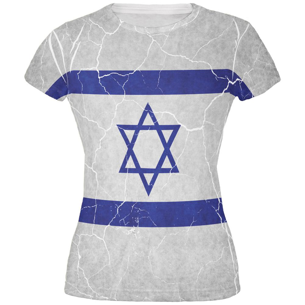 Distressed Israeli Flag All Over Juniors T Shirt