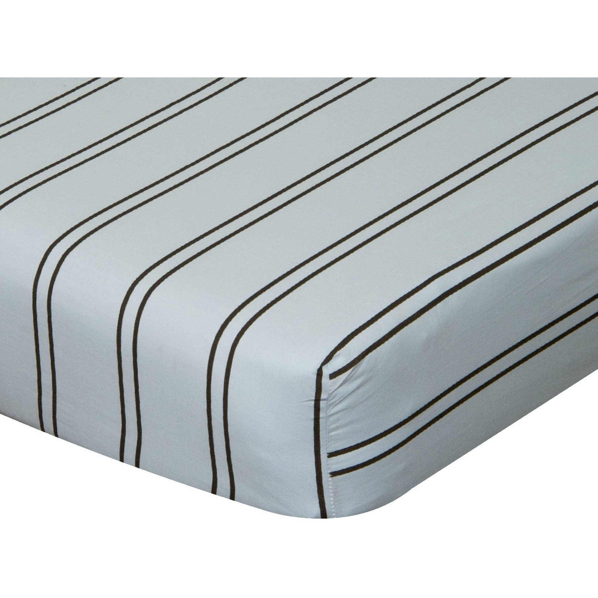 Go Mama Go Designs Blue & Chocolate Stripe Cotton Crib Sheet
