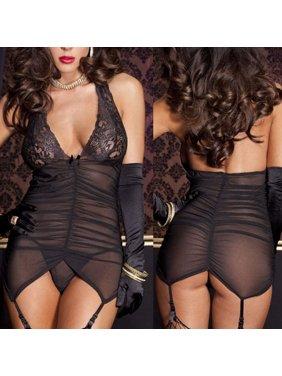 Product Image Women s Sexy Lingerie Babydoll Sleepwear Underwear Lace BLACK  Dress set Best. Urkutoba c15e6211f
