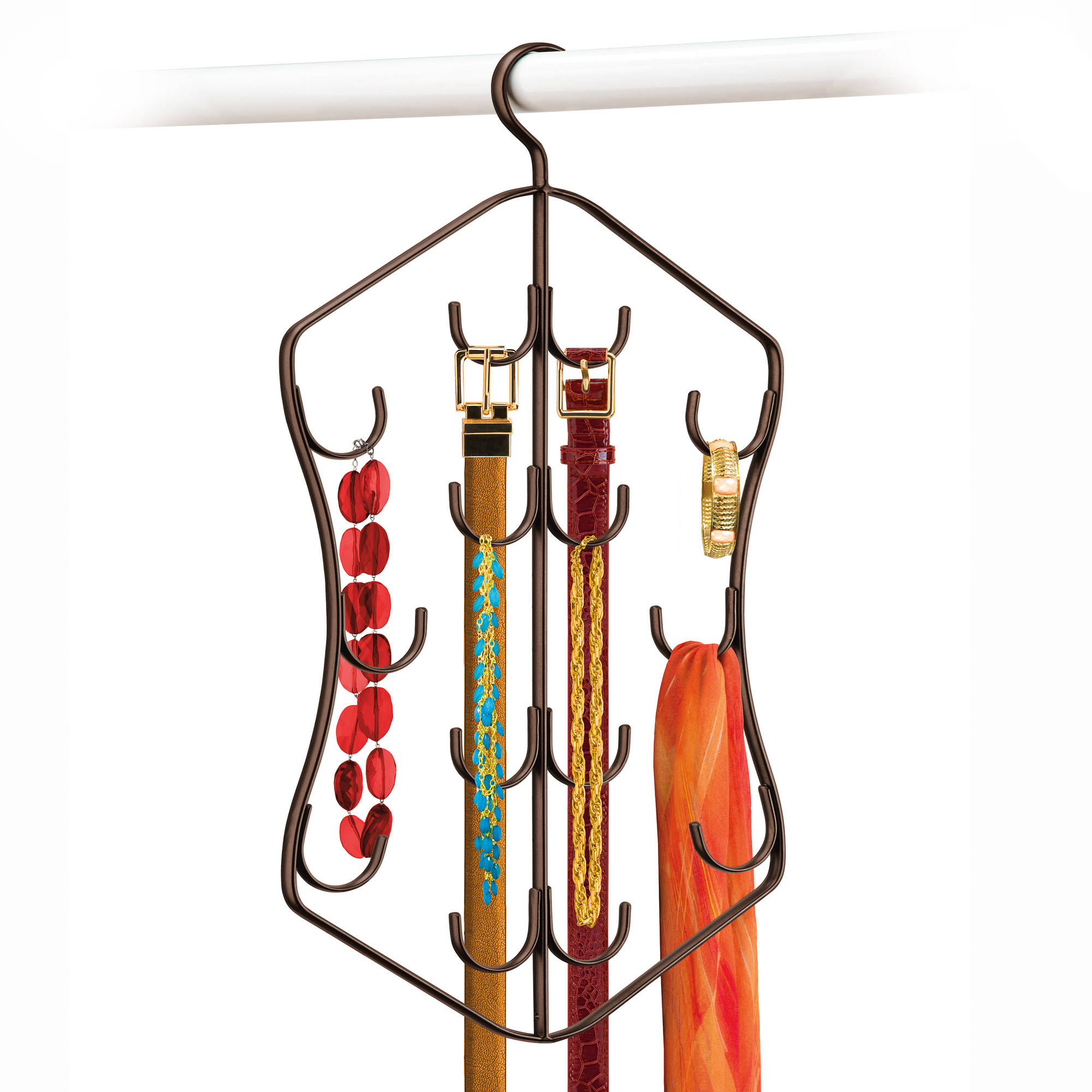 Lynk Hanging Jewelry, Scarf, and Accessory Organizer - 14 Hook Closet Organizer Rack for Scarves, Belts, and Jewelry - Bronze