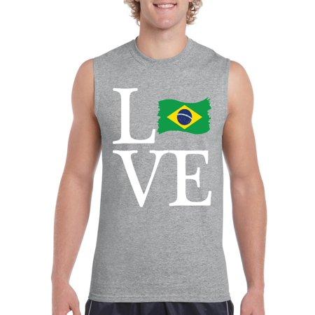 Brazil Sleeveless (Love Brazil Men Ultra Cotton Sleeveless T-Shirt )
