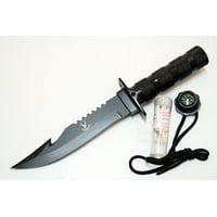 "The Bone Edge Hook Blade 10.5""Stainless Steel BlackBlade Hunting Knife W/ Sheath"
