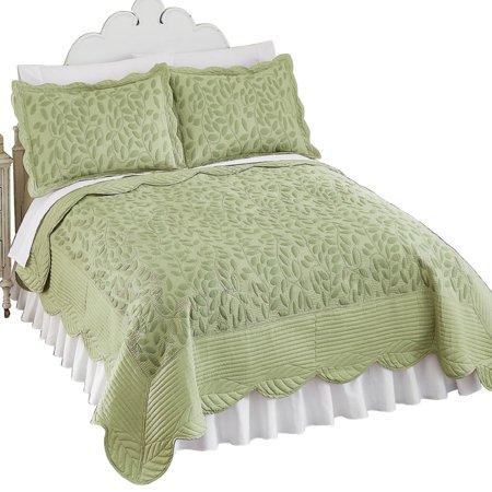 cascade leaf matelasse texture quilted lightweight bedspread king sage. Black Bedroom Furniture Sets. Home Design Ideas