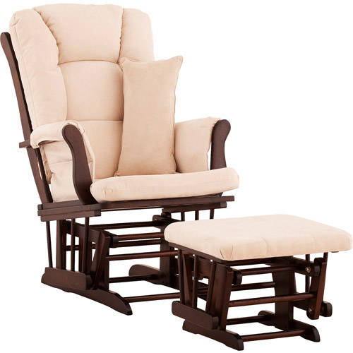 Storkcraft - Custom Tuscany Glider & Ottoman with Bonus Lower Lumbar Pillow - Espresso Finish, Choose Your Color