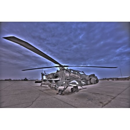 High dynamic range image of a stationary AH-64D Apache Longbow Block III attack helicopter Poster Print