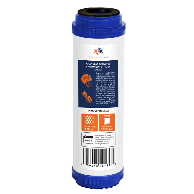 "Granular Activated Carbon 10"" x 2.5"" Block 5 Micron Water Filter Cartridge 10"" by Aquaboon"