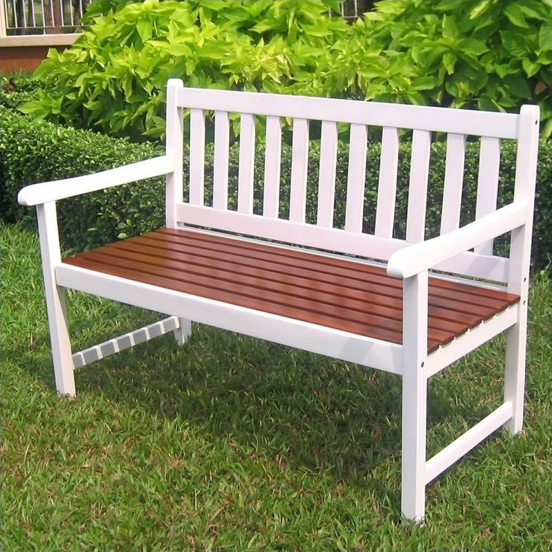 Pemberly Row Acacia Patio Garden Bench in White