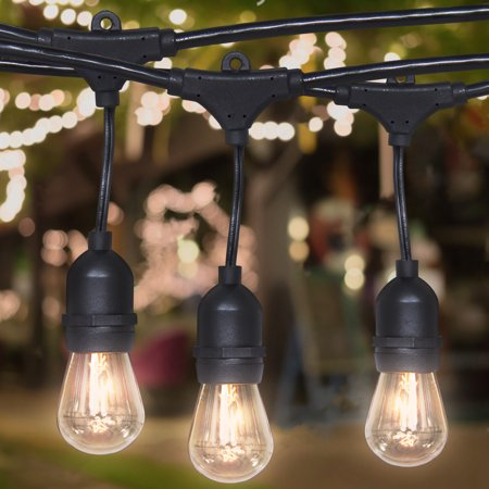 Best Choice Products 24ft Commercial Weatherproof Outdoor String Lights for Party, Restaurant, Patio Lights - Black (Best Black Lights For Parties)