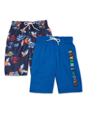 Ryan's World Boys Active Shorts, 2-Pack, Sizes 4-7