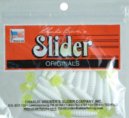 Charlie Brewers Crappie Grubs 1 1/2in 20pk White/Chartreuse Md#: CSGF45 Multi-Colored