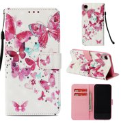 iPhone Xr Case, iPhone Xr Cover, Allytech 3D Print Crystal Diamonds Wallet Case with Card Slots Slim PU Leather Folio Flip Kickstand Case Cover for iPhone Xr 6.1-inch Phone, Red Butterfly