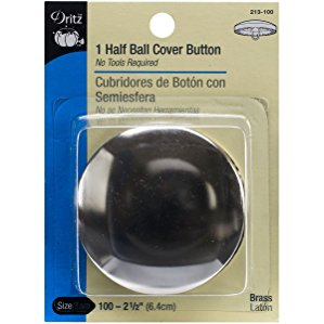 Half-Ball Cover Buttons, Size 100, 2-1/2""