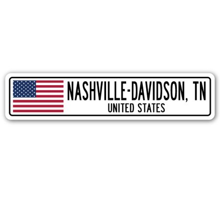 NASHVILLE-DAVIDSON, TN, UNITED STATES Street Sign American flag city  gift