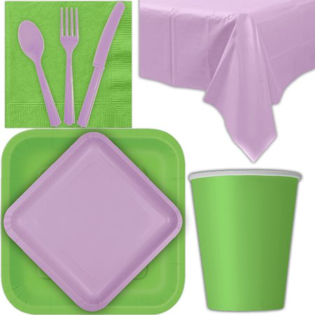 Disposable Party Supplies for 28 Guests - Lime Green and Lavender - Square Dinner Plates, Square Dessert Plates, Cups, Lunch Napkins, Cutlery, and Tablecloths:  Tableware Set ()