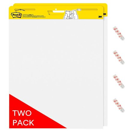 Post-it Self-Stick Easel Pad Twin Pack w/ Bonus Command Strips, 20in. x 23in Pads - Poster Paper Walmart